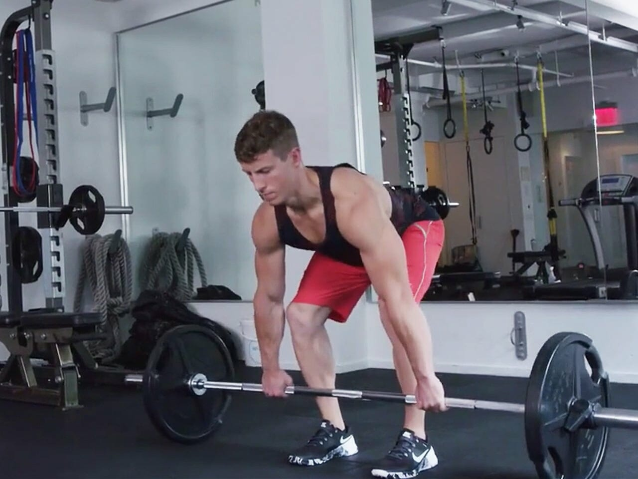 Man performing deadlift exercise